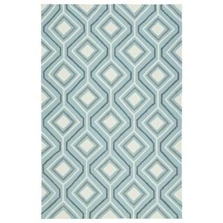 """Handmade Indoor/ Outdoor Getaway Light Blue Geometric Rug (5' x 7'6) - 5' x 7'6"""""""