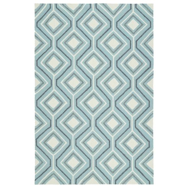 Handmade Indoor/ Outdoor Getaway Light Blue Geometric Rug - 5' x 7'6