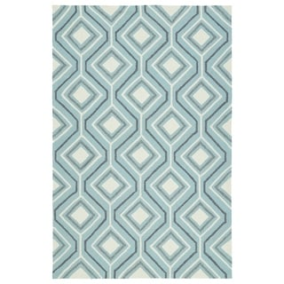 Handmade Indoor/ Outdoor Getaway Light Blue Geometric Rug (5' x 7'6)