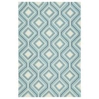 Handmade Indoor/ Outdoor Getaway Light Blue Geometric Rug - 5' x 7'6
