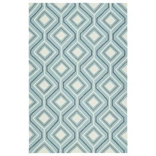 Handmade Indoor/ Outdoor Getaway Light Blue Geometric Rug (8' x 10') - 8' x 10'