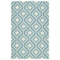 Handmade Indoor/ Outdoor Getaway Light Blue Geometric Rug - 8' x 10'