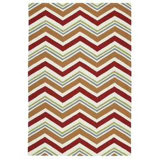 Handmade Indoor/ Outdoor Getaway Red Chevron Rug (8' x 10')