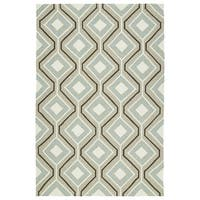 Handmade Indoor/ Outdoor Getaway Light Brown Geometric Rug - 8' x 10'