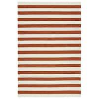 Handmade Indoor/ Outdoor Getaway Paprika Stripes Rug - 5' x 7'6