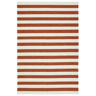 Handmade Indoor/ Outdoor Getaway Paprika Stripes Rug (5' x 7'6)