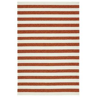Handmade Indoor/ Outdoor Getaway Paprika Stripes Rug (8' x 10') - 8' x 10'