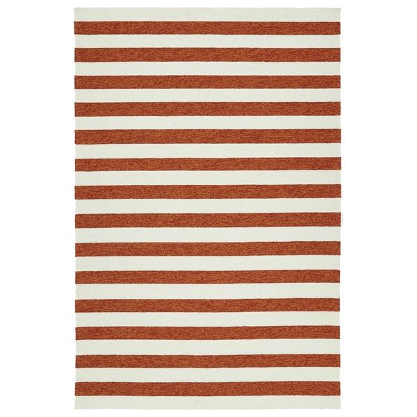 Handmade Indoor/ Outdoor Getaway Paprika Stripes Rug - 8' x 10'