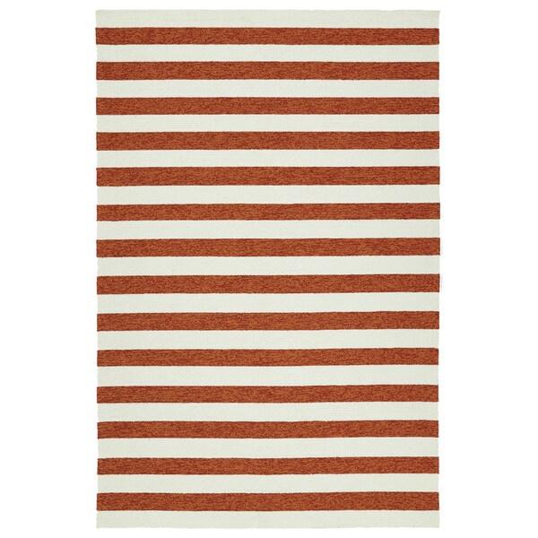 Handmade Indoor/ Outdoor Getaway Paprika Stripes Rug - 9' x 12'