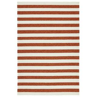 Handmade Indoor/ Outdoor Getaway Paprika Stripes Rug (9' x 12')
