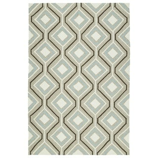 Handmade Indoor/ Outdoor Getaway Light Brown Geometric Rug (5' x 7'6)