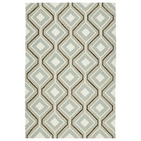 Handmade Indoor/ Outdoor Getaway Light Brown Geometric Rug - 9' x 12'