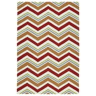 Handmade Indoor/ Outdoor Getaway Red Chevron Rug (9' x 12')