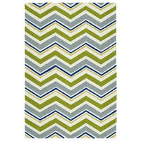 Handmade Indoor/ Outdoor Getaway Green Chevron Rug - 9' x 12'