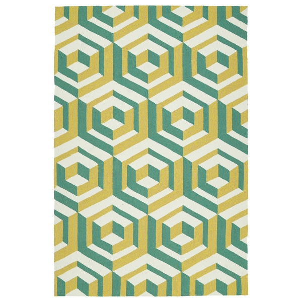 Handmade Indoor/ Outdoor Getaway Gold Geometric Rug - 8' x 10'