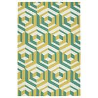 Handmade Indoor/ Outdoor Getaway Gold Geometric Rug - 8' x 10'