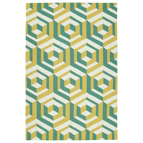 Handmade Indoor/ Outdoor Getaway Gold Geometric Rug - 9' x 12'