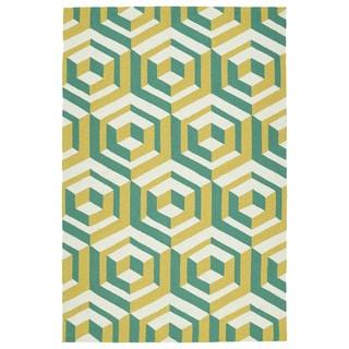 Handmade Indoor/ Outdoor Getaway Gold Geometric Rug (9' x 12')