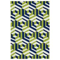Handmade Indoor/ Outdoor Getaway Navy Geometric Rug - 5' x 7'6