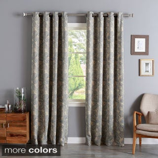 Aurora Home Paisley Stitch Printed Blackout Grommet Top Curtain Panel Pair
