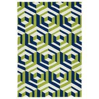Handmade Indoor/ Outdoor Getaway Navy Geometric Rug - 4' x 6'
