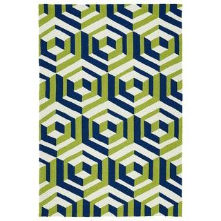 Handmade Indoor/ Outdoor Getaway Navy Geometric Rug (8' x 10')