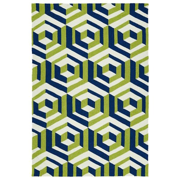 Handmade Indoor/ Outdoor Getaway Navy Geometric Rug (9' x 12')