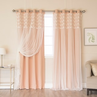 Aurora Home Floral Lace Overlay Thermal Insulated Room Darkening Grommet Top Curtain Panel Pair
