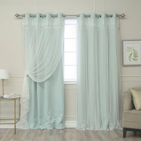 Aurora Home Lace Overlay Room Darkening Grommet Top Curtain Panel Pair
