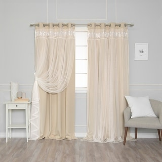 Link to Aurora Home Lace Overlay Room Darkening Grommet Top Curtain Panel Pair Similar Items in Curtains & Drapes