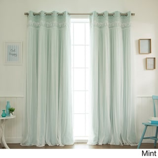 Aurora Home Lace Overlay Blackout Grommet Top Curtain Panel Pair
