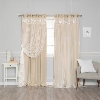 Aurora Home Lace Overlay Room Darkening Grommet Top Curtain Panel Pair (More options available)