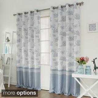 Aurora Home Toile Printed Room Darkening Grommet Top Curtain Panel Pair