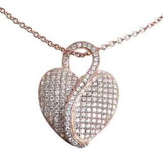 Michael Valitutti Sterling Silver Cubic Zirconia Heart Pendant