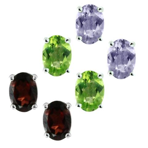Gems en Vogue 14k Gold Choice of Peridot, Amethyst, or Garnet Earrings