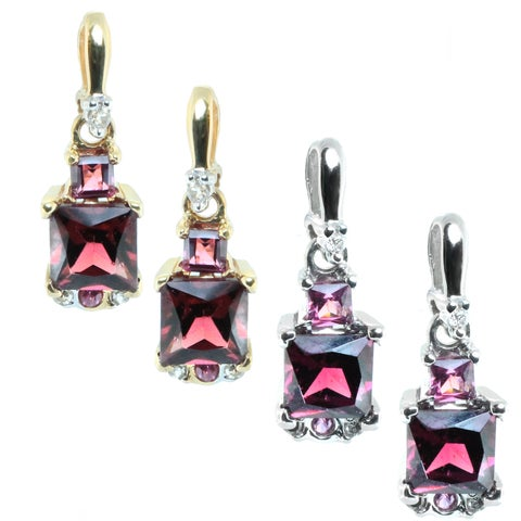 M.V. Jewels 14k Gold Diamond, Rhodalite and Pink Sapphire Earrings