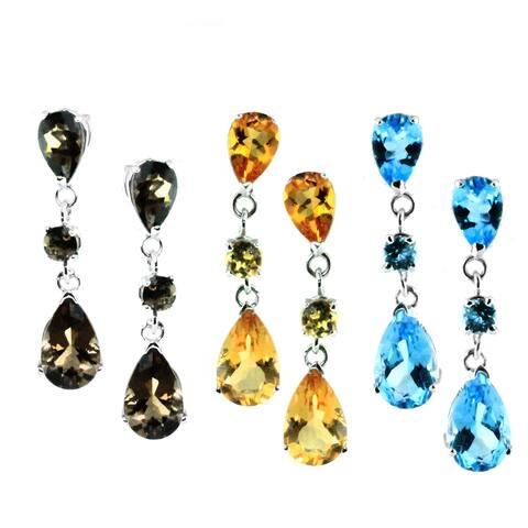 Gems en Vogue 14k Gold Citrine, Smokey Quartz, and Blue Topaz Earrings
