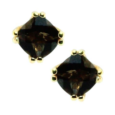 Gems en Vogue 14k Gold and Smokey Quartz Earrings