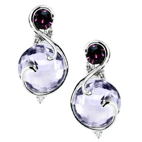 Michael Valitutti 14k Gold Rose De France, Rhodolite and Diamonds Earrings