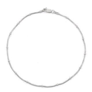 Gioelli Sterling Silver Rosary Snake Chain Anklet