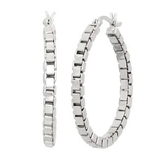 Gioelli Sterling Silver Box Chain Hoop Earrings