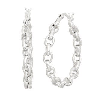 Gioelli Sterling Silver Rolo Chain Hoop Earrings