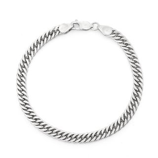 Gioelli Sterling Silver Thick Double Curb Chain Bracelet
