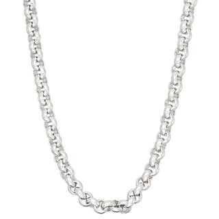 Gioelli Sterling Silver Thick Rolo 4.5mm Chain Necklace
