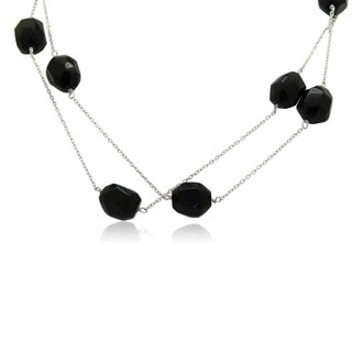 Gioelli Sterling Silver 36-inch Baroque-cut Black Onyx Necklace