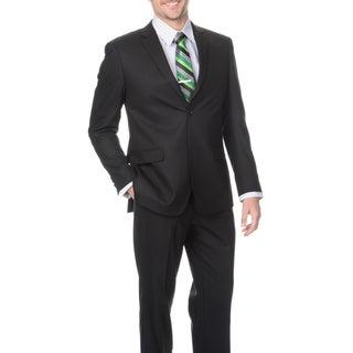 Montefino Slim Men's Black 'Super 120's Merino Wool' Suit (More options available)