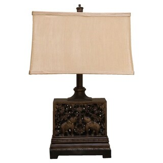 Somette Vanguard Series Aged Bronze Oriental Table Lamp