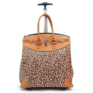Baby Leopard Print Foldable Rolling Travel Tote