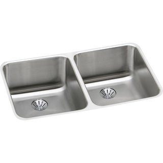 """Elkay Lustertone Stainless Steel 30-3/4"""" x 18-1/2"""" x 10"""", Equal Double Bowl Undermount Sink with Perfect Drain"""