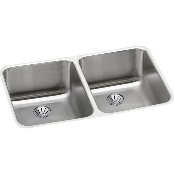 "Elkay Lustertone Stainless Steel 30-3/4"" x 18-1/2"" x 10"", Equal Double Bowl Undermount Sink with Perfect Drain"